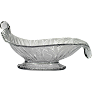 Fenton Art Glass San Toy Cornucopia Console Bowl Satin Crystal
