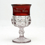 Boston Mass EAPG Ruby Stained Kings Crown Souvenir Wine Glass Antique Adams