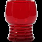 Imperial Glass Ruby Red Tumbler #451 Shaeffer Georgian Ringed Base Vintage