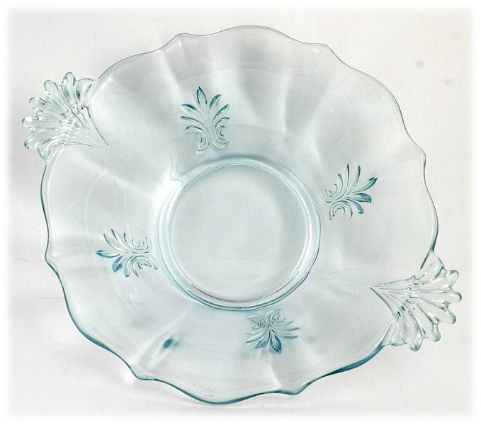 Fostoria Baroque Blue Glass Bowl Vintage Elegant Depression Glass 1930s