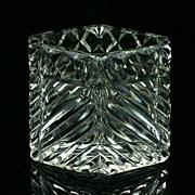 Czechoslovakian Cut Glass Toothpick Holder Signed Acid Etched Mark Crystal