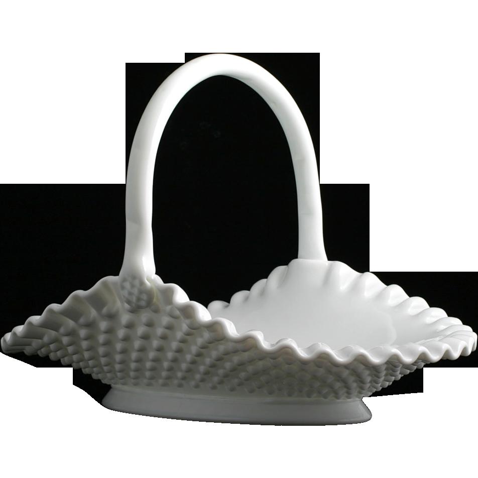 Fenton Hobnail Milk Glass Basket Oval Vintage Art Glass Hand Made #3839