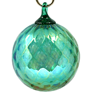 Glass Eye Studio Christmas Ornament Green Diamond Optic Art Glass Orb