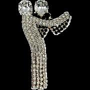 Ballroom Dancers Rhinestone Trembler Pin Vintage Brooch