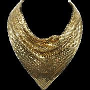 Gold Mesh Cowl Bib Necklace Vintage Goldtone Sparkler