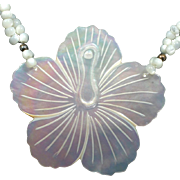 Hawaiian Hibiscus Carved Shell Necklace