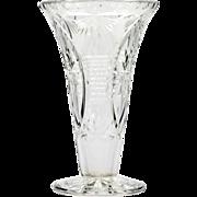 Webb Corbett Cut Crystal Vase English Signed Stars Vertical Lines Glass