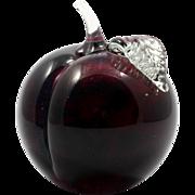 Glass Eye Studio Paperweight Fruit Nectarine Peach Red Hand Made GES 95