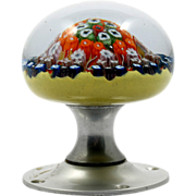 SALE PENDING Millefiori Cartwheel Paperweight Strathearn Doorknob Vintage Art Glass Scottish