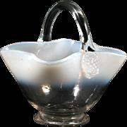 Victorian Opalescent Art Glass Basket Antique Hand Blown Glass 1890s
