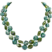 Austrian Iridescent Green Beaded Necklace Double Strand