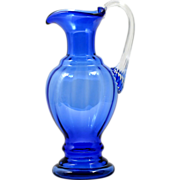 Fenton Cobalt Blue Art Glass Pitcher Vintage 1990s Elegant Glass Hand Blown American