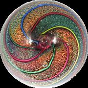 Glass Eye Studio Paperweight Cranberry Cane Dichroic Rainbow Spirals Vintage 1996 Signed