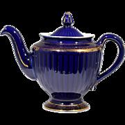 Hall Teapot Cobalt Blue Los Angeles with Gold Decoration 083 Vintage Ribbed