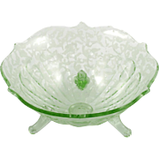 Fenton Art Glass Green Ming Bowl Vintage 1930s Candy Dish Uranium Glass Etched