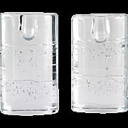 "Iittala Arkipelago Oval Candle Holders Vintage Finland Art Glass Timo Sarpaneva 5"""