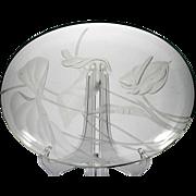 Frank Oda Sand Carved Glass Bowl Anthurium Flower Vintage Art Glass Hawaii