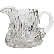 American Brilliant Cut Glass Creamer Signed Libbey Antique Crystal