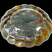 Studio Art Glass Paperweight Scalloped Yellow crystal Hand Blown