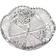 Tuthill American Brilliant Cut Glass Dish Signed Antique Crystal Hobstars Flowers