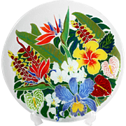 """Peggy Karr Tropical Floral Platter Hand Made Fused Slumped Glass Orchid 13"""""""