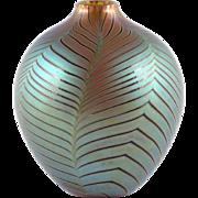 SOLD Zweifel Art Glass Vase Pulled Feather Iridescent Hand Blown