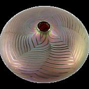 Zweifel Art Glass Vase Pulled Feather Iridescent Hand Blown
