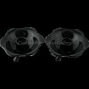 Lancaster Petal Ebony Glass Candle Stick Holders Pair Black Vintage Art Glass