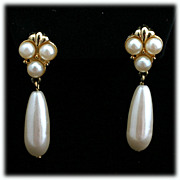 Marvella Faux Pearl Dangle Drop Earrings in Gold tone