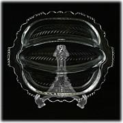 Tiffin 5902 Elegant Glass Relish Dish Wreath Cutting Vintage Cut Crystal