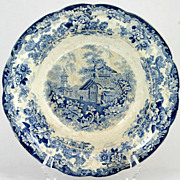 Genevese Opaque China Blue White Pottery Bowl Charles Meigh Antique 1835