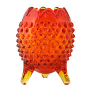 Fenton Amberina Hobnail Rose Bowl Vintage Art Glass 1970s Egg Shaped