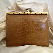 Vintage Meyer Embossed Leather Wrist Handbag