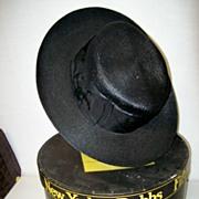1889 Black Straw Hat Excellent