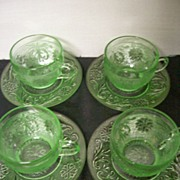"""Depression """" Sandwich """" Indiana Glass Co.Cups/ Saucers"""