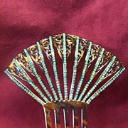 Vintage Faux Tortoise & Teal Rhinestone  Fan Haircomb