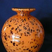 Art Glass Vase in Orange Leopard Tones