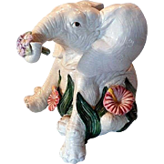 Whimsical Fitz and Floyd Elephant and Flowers Cookie Jar
