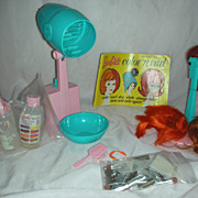 Vintage Mod Era Barbie Doll Color Magic Beauty Shop Items and Wigs.