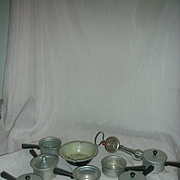 Vintage Aluminum Toy or Doll Pots, Pans and Eggbeater