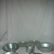 Vintage Doll or Child Size Aluminum flour Canister Cupcake Pan Pie Pans etc