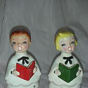 Vintage Mid Century Choir Boys Boyr and Girl Carolers Rhinestone Eyes Christmas Japan Kreiss Figurines