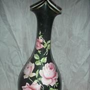 Vintage Black Vase with Roses