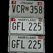 Maryland License Plates Matching Pair GFL-225 1986 1987 & VCR-358 1989 Automobile Car