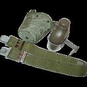 Military Vietnam War 1965 Canteen Cup with 1984 Nylon Web Belt Size Medium Equipment