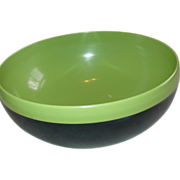 Reinecke Therm-O-Bowl Serving Bowl Plastic Black Green Large 9 inches Atomic Footed