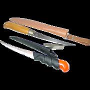 Bud Adams & Sharper's Centurion Filet Knives Fishing Stainless Fish Fillet Plastic Sheaths