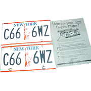 New York State Statue of Liberty License Plates C66-6WZ NY Automobile Car Pair Set