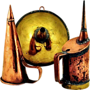 Antique Copper & Brass Distillery Tools: Funnel, Oil Can, Muller