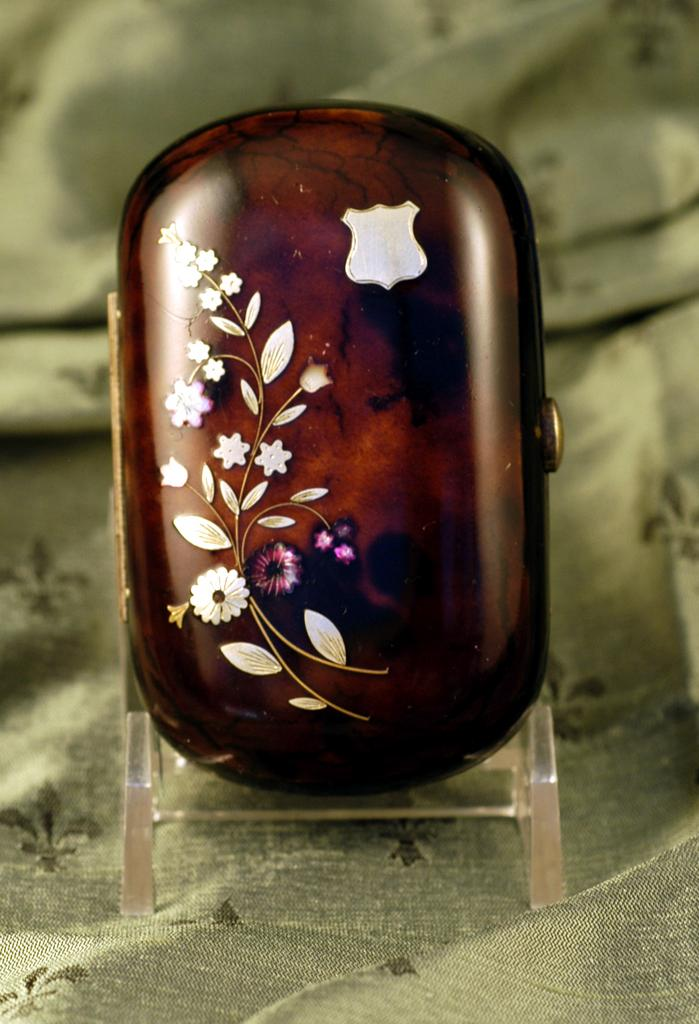 Antique French Tortoise Shell Coin Purse c. 1860 Inlaid with Pewter and Abalone